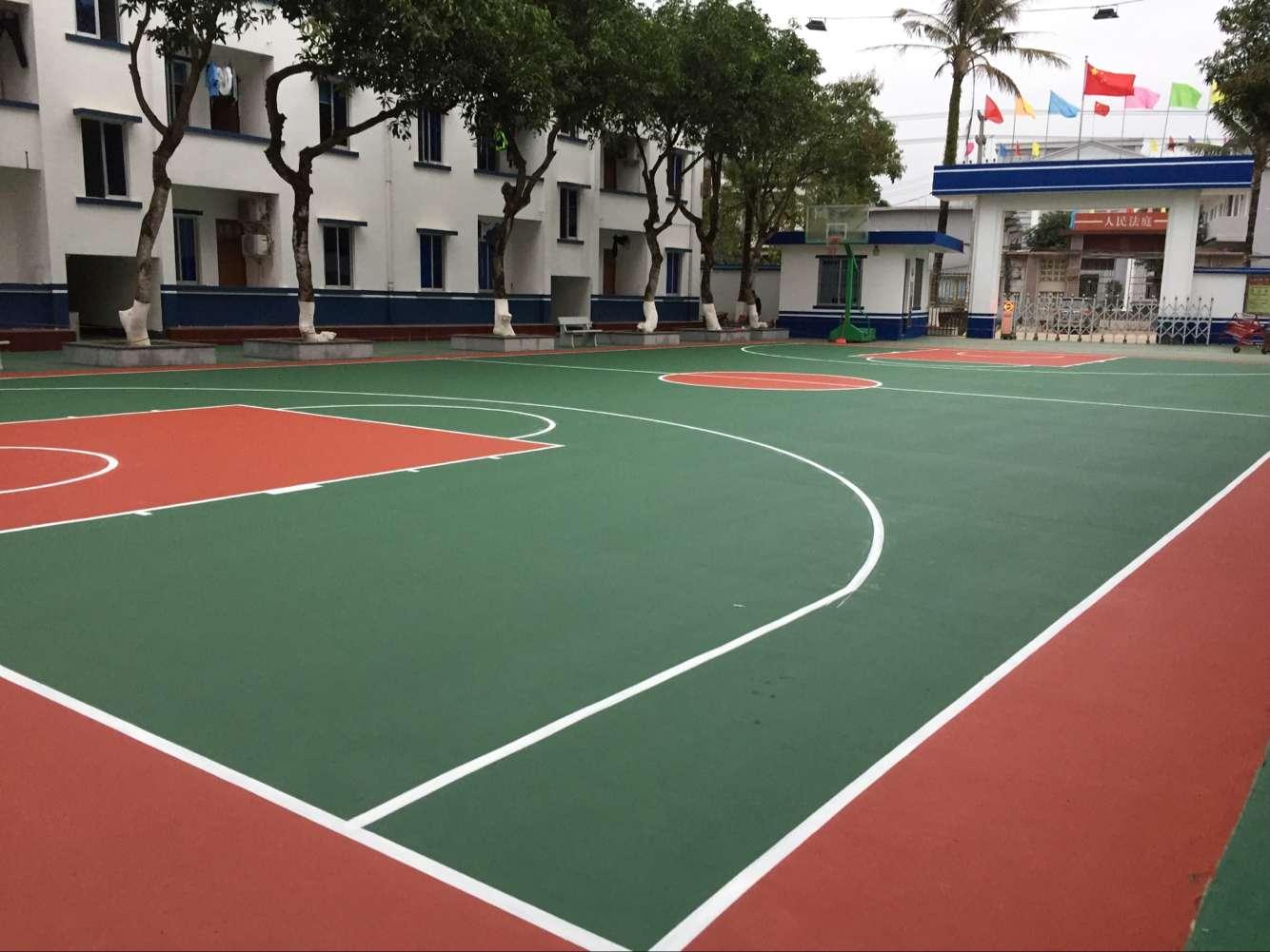 东兴新农村建设硅PU塑胶篮球场