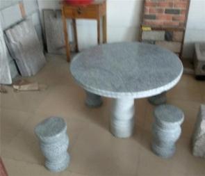 CG-A1-S85圆形红麻白麻石桌石桌石凳户外庭院花园天然大理石圆桌石桌子石头凳子花园别墅桌椅